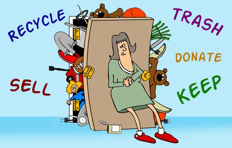 Cartoon of lady holding in trash