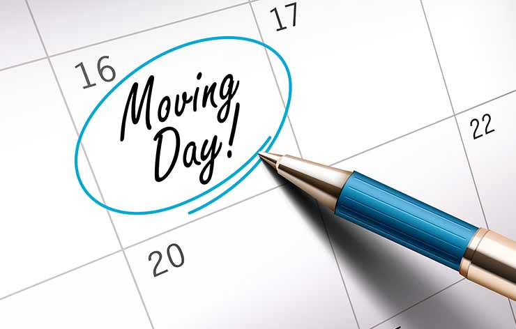 calendar showing move day